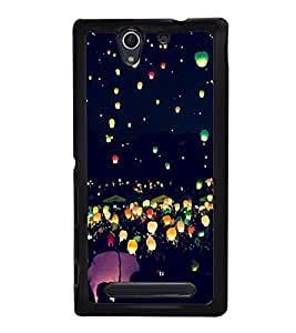 Night Lamps in Sky 2D Hard Polycarbonate Designer Back Case Cover for Sony Xperia C4 Dual :: Sony Xperia C4 Dual E5333 E5343 E5363