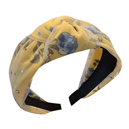 kolila Günstige Stirnband Haarspangen Clearance!!!Damen Mesh Stretchy Breitrandige Accessoires Stirnbänder Haarband(Gelb)