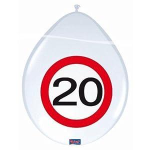 Folat 20. de Globos Fiesta de cumpleaños Decoración 8Pieza Blanco de Rojo 30cm un