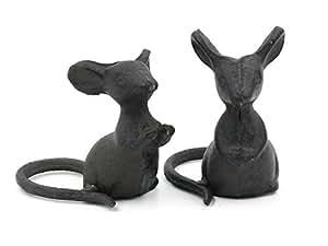 Paar Süße Mäuse Gusseisen Garten Ornament
