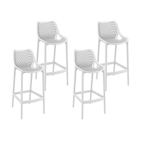 Resol Grid - Set de 4 taburetes altos, plástico, 53 x 45 x 105 cm, color blanco
