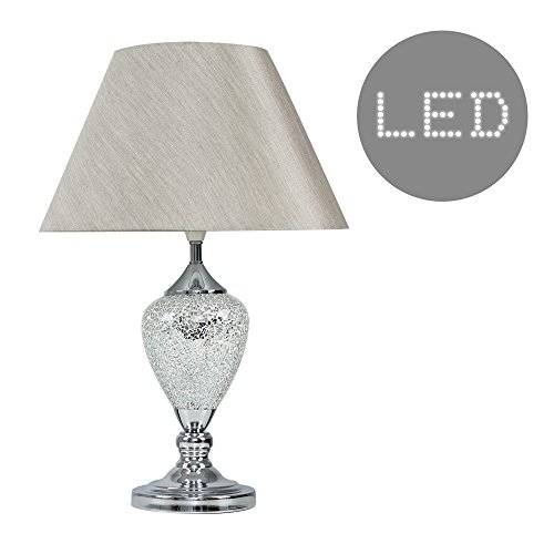 Modern Decorative Chrome & Mosaic Crackle Glass Table Lamp with a Grey Lampshade - Complete with a 6w LED GLS Bulb [3000K Warm White]