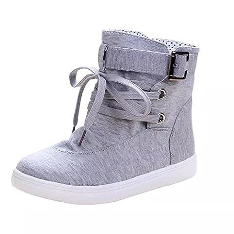 OVERMAL Femmes Loisirs Soft Flats Boots Avec Boucle Lace-Up Canvas Martin Boots (39, Gris)