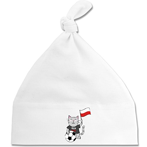 Shirtracer Fußball-Weltmeisterschaft 2018 - Baby - Fußball Katze Polen - Unisize - Weiß - BZ15 - Baby Mütze mit einfachem Knoten als Geschenkidee (Katze Gewaschen Cap)