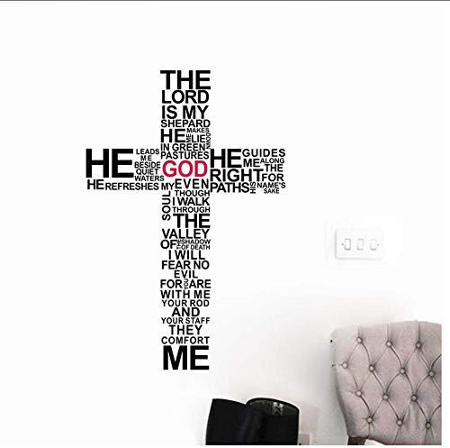 CartoonKreuz Wandkunst Aufkleber Christus Psalm beten Bibel Schlafzimmer Wandbild -