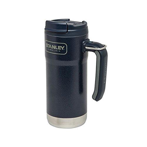 Stanley Adventure Vacuum Travel Mug - 473 ml - 18/8 Edelstahl - Navy blaue Hammerschlaglackierung - Klappdeckel - Metallring
