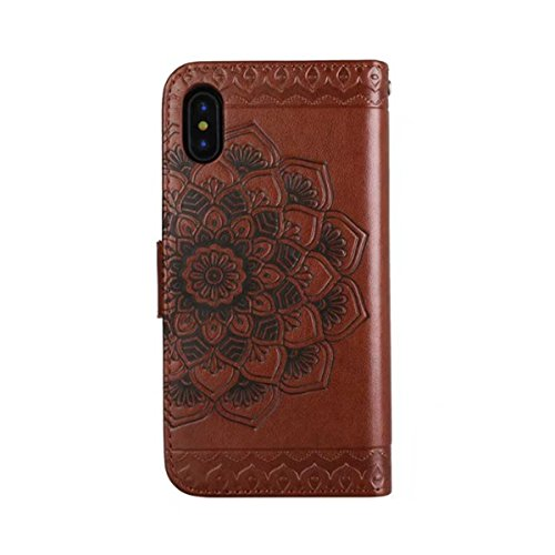 iPhone X Hülle, iPhone 10 Brieftasche, Lifetrut Premium Mandala Emboss PU Leder 2 in 1 Wallet Flip Folio Case Magnetische abnehmbare Rückenabdeckung & Handschlaufe für iPhone X / iPhone 10 [schwarz] E202-Braun
