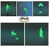 6 Set Sticker Interruttore Luminosi Adesivi Murali Fluorescenti e Brillanti al Buio Adesivi da Parete Cartoon Fata Stelle Decorazione Murale Casa Camera da Letto Soggiorno Regalo di Feste Natale Compleanno per Bambini