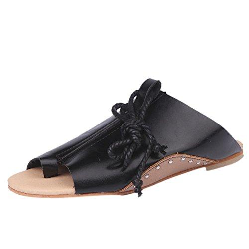 Btruely Sandalen Damen Sommer Schuhe Bohemia Flache Sandalen PU Leder Retro Sandalen Casual Sandalen Outdoor Schuhe Strandschuhe Flache Mode Schuhe Roman Hausschuhe Bequeme Schuhe (37, Schwarz) (Basic Leder Casual Schuh)