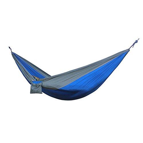 Hamac Suspendu,Rasse® Lightweight Double Nylon extérieur Hamac Portable Dormir Camping Intérieur Voyager avec 2 mousquetons gratuits (bleu)