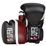 Supera Boxhandschuhe + Boxbandagen + Trainingsbeutel im Set für Kickboxen, Boxen und MMA. Muay Thai Boxhandschuh aus hochwertigem Kunstleder. Kampfsport Handschuhe mit elastischer Bandage 4,5m