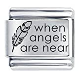 When Angels are Near Etched Italian Charm Compatible with Nomination Charms