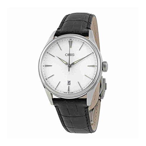 Oris Artelier Date Cadran argenté montre pour homme 0173377214051–0752164FC