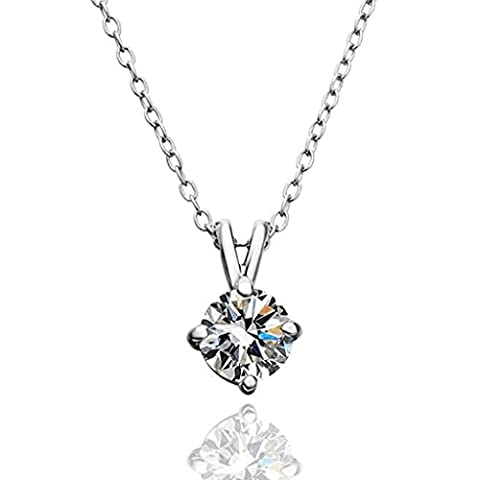 AMDXD Jewelry Gold Plated Women Pendant Necklace Silver Four Claws CZ,Gift for Girls