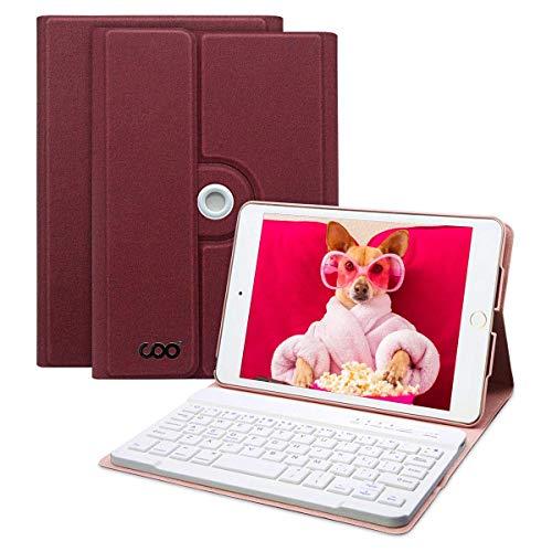 COO Hülle Tastatur iPad Mini 4 -A1538/A1550, 360 Grad rotierende Stand Keyboard Case mit Mulit-Angle- Ständer-Funktion, mit Auto Schlaf/Wachen, Bluetooth Deutsches QWERTZ Layout (Weinrot) - Das Tastaturen Mini Für Ipad