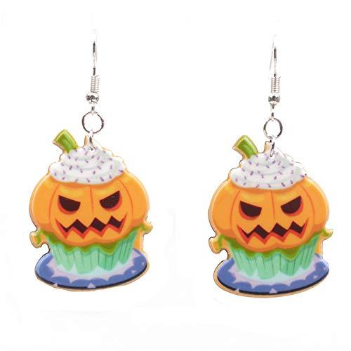 Leisial Frauen Legierung Ohrringe Halloween Cartoon Kürbis Hexe Hut Dessert Kuchen Ohrringe Party Weihnachtsgeschenk