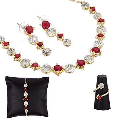 Zeneme American Diamond Traditional Fashion Jewellerry Combo of Necklace Pendant Set/Ring/Bracelet with Earring for Women/Girls (Red)