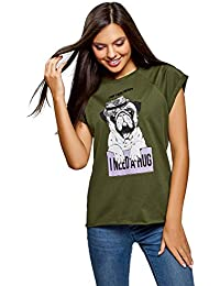 oodji Ultra Mujer Camiseta de Algodón con Estampado ef50d7642977c
