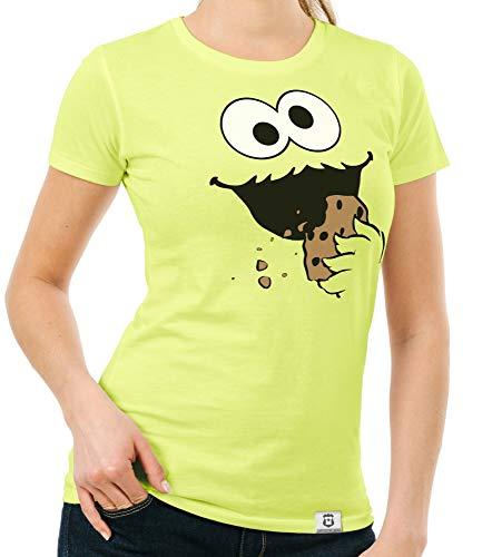 Shirtdepartment - Damen T-Shirt - Keks Monster gelb-schwarz M (Old School Monster Kostüm)