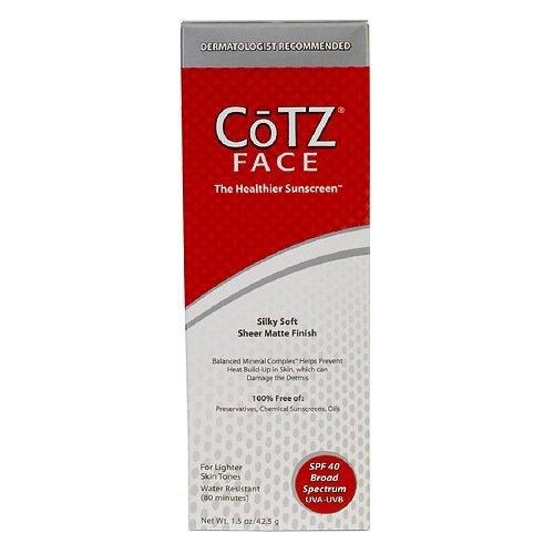 Cotz Skin Care Cotz Face Sunscreen For Lighter Skin Tones, Spf 40 - 1. 5 Oz, 2 Pack