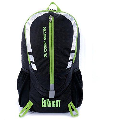 ENKNIGHT 28L Impermeable Mochila de Senderismo Paquete del Alpinismo ligero plegable resistente al agua mochila de viaje Escalada Marcha camping senderismo Deporte Al Aire Libre negro