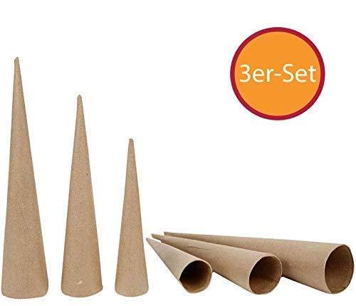 YooKreativ Kegel, Pappkegel, Hohkegel aus Pappmaché, Set mit 3 Größen, Kegel zum Basteln -