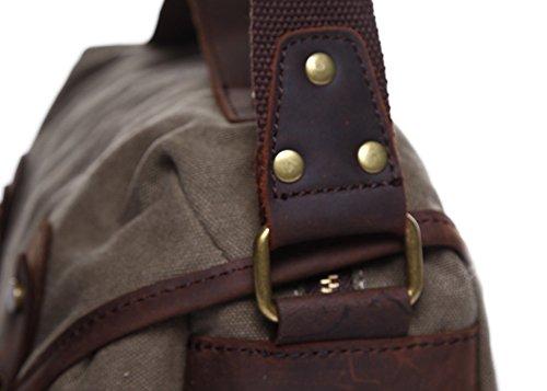 Genda 2Archer Sacchetto di Spalla Della Tela di Canapa Durevole Degli Uomini Borsa a tracolla Vintage Sacchetto di Messaggero da Campeggio (26cm*12cm*17cm) (Blu Scuro) Verde