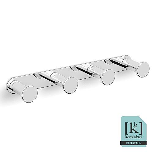 Korpusbad® Design Gaderobenhaken Handtuchhalter AC153 mit vier Haken   edel verchromt   Form: rund   verdeckte Verschraubung   Montagematerial enthalten