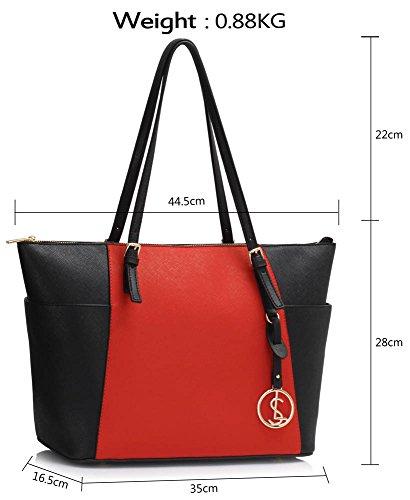 Frau Handtaschen Damen Groß Für Leinentrage Tasche Konstrukteur Imitat Leder Berühmtheit Stil Neu (C - Bräunen) Schwarz/Rot 2