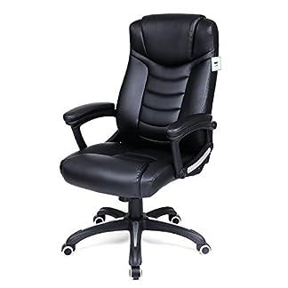 Songmics Silla de oficina con respaldo alto y función de inclinación ejecutiva silla de escritorio silla sintética negro obg21buk