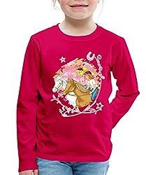 Bibi Und Tina Wettreiten Im Wald Kinder Premium Langarmshirt, 122/128 (6 Jahre), Dunkles Pink