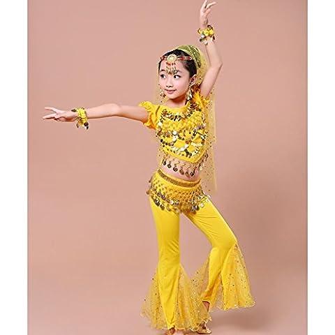 ZYQYJGF Chica Varios Colores Danza Del Vientre Ropa Trajes Carnaval Baile Performance Vestido Niños Conjuntos . 4 .