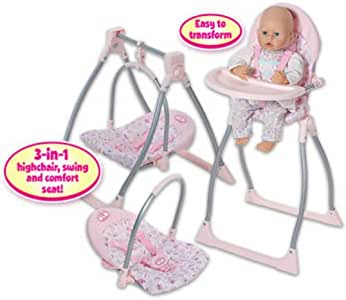 Baby Annabell 3 in 1 Highchair, Swing and Comfort Seat ...