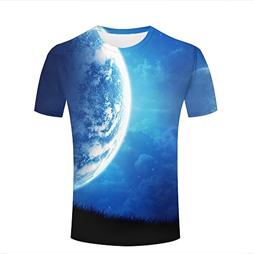 para Hombre Casual Design 3D Printed Beautiful Blue Planets and grasslands Short Sleeve Summer T Shirts Tees M
