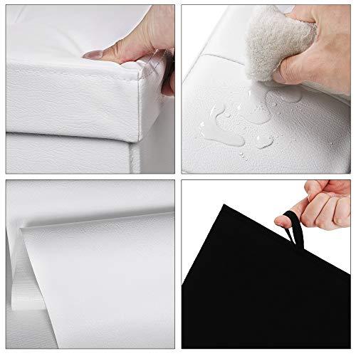 Songmics Sitztruhe 3-Sitzer Kunstleder, weiß, 110x38x38cm - 6