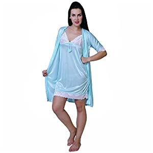 Fashion Xposed Women's Satin Nightwear Set (Blue_Free Size)