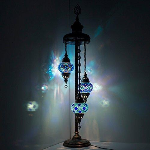 Turkish Mosaic Globe Floor Lamp ,Stunning Moroccan Style, 3 Medium Globe Lampshade Blue Earth Series by TK BAZAAR