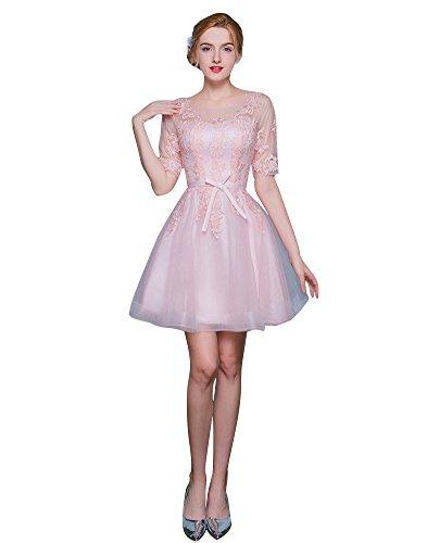 Beauty-Emily Halbe Hülse see through Spitze zeichnen Sie Brautjunfer-Kleider Rosa-mini