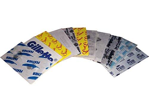 11 verschiedene Rasierklingen, Astra, Derby, Feather, Personna, Shark, Dorco, Wilkinson, Gillette, Rasierklingen Probe Set inkl. Rasierklingen Checkliste