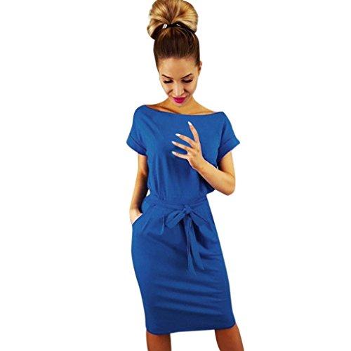 Sommerkleid Forh Damen Casual Kurzarm Minikleid Vintage Basic Kleid Abendkleid Partykleid Elegant...