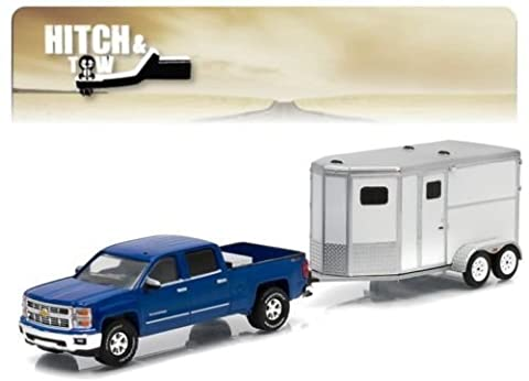 New 1:64 HITCH & TOW SERIES 5 - BLUE 2015 CHEVROLET SILVERADO 1500 AND HORSE TRAILER Diecast Model Car By Greenlight