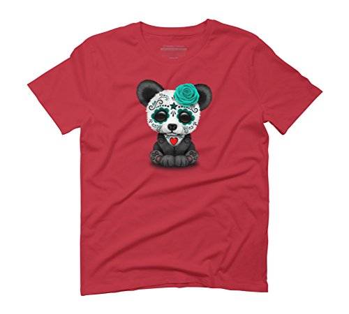 Teal Blue Day of the Dead Sugar Skull Panda Men's Graphic T-Shirt - Design By Humans Red