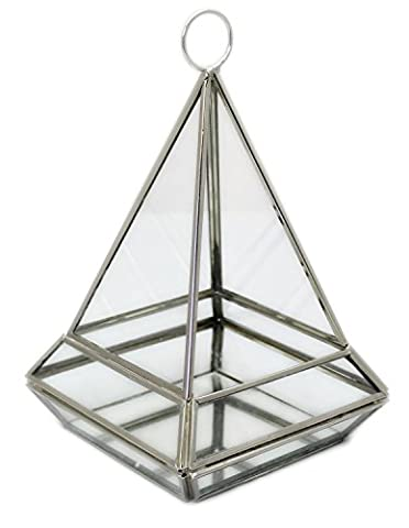 Hanging Clear Glass And Zinc Terrarium Style Pyramid Candle Tealight Holder Lantern With Mirrored Base Small