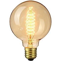 Bombillas Vintage,Elfeland® Edison Bombilla Industrial Vintage Retro Style E27 40W Filamento Espiral Bombilla Decorativa para Lámpara Colgante Lámpara de pared Lámpara Colgante Diámetro 95mm Regulable - 1 Unidad
