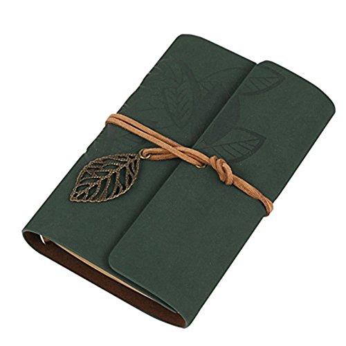 Cosanter Taccuino vintage, con copertina e laccio in pelle e foglia decorativa, con 80 pagine, Green, 14.5 x 10.5 cm