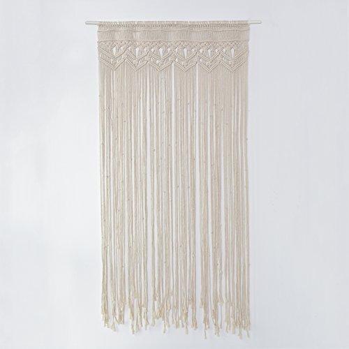 Awayhall Macrame Wandbehang Tapisserie Baumwolle gewebt handgewebte böhmische Tapisserie für Raumteiler, Fenstervorhänge, Türvorhänge, Hochzeitshintergrund, Inneneinrichtung 90 * 180 cm -