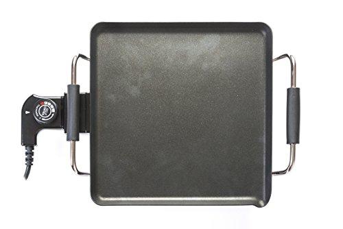 Plancha de asar/grill eléctrica de cerámica antiadherente RaydanHome 26019, termostato regulable de 5 potencias y asas de seguridad, 1500W, superficie de cocción: 27 x 27 cm.