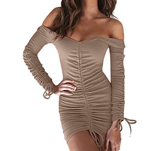 Longra Mode Damen Sexy Schulterfreie Kleider V-Ausschnitt Etuikleider Bodycon Bleistiftkleid Langarm...