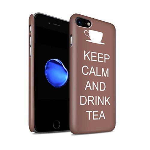 STUFF4 Matte Snap-On Hülle / Case für Apple iPhone 8 / Einkaufen Gehen/Braun Muster / Bleib Ruhig Kollektion Tee Trinken/Braun