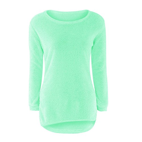 OSYARD Femme Pull Automne Sexy Tops à Manches Longues Hiver Fleece Pullover Laine Blouse Poilu(Vert,M)